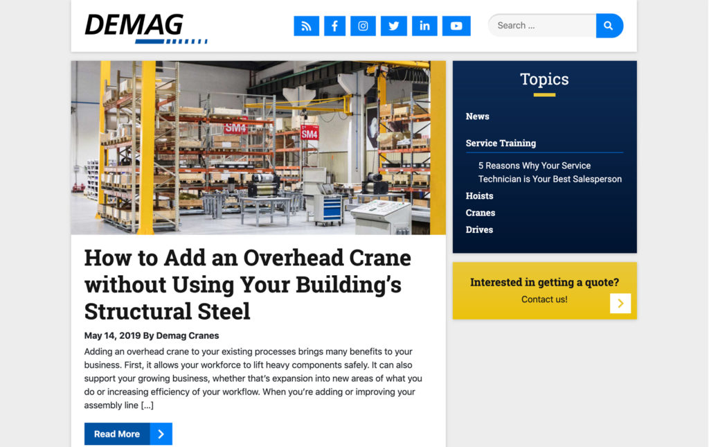 The homepage of Demag's blog